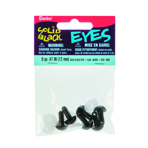 Solid Eyes with Plastic Washers - Black - 12mm - 6 pieces