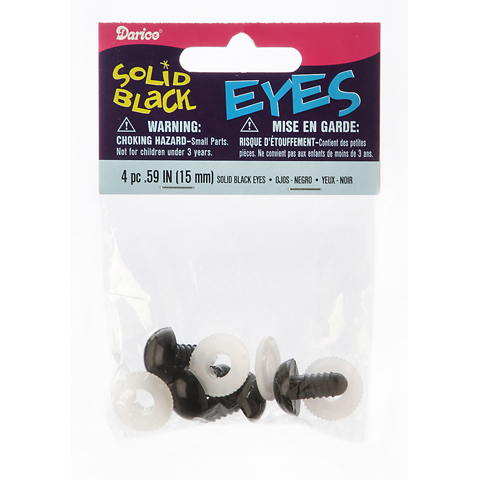 Solid Eyes with Plastic Washers - Black - 15mm - 4 pieces