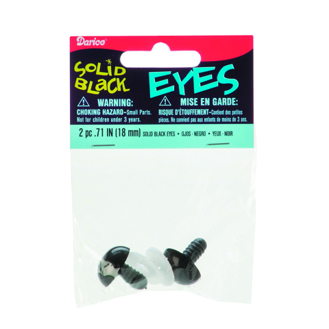 Solid Eyes with Plastic Washers - Black - 18mm -2 pieces