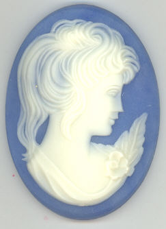 Cameo - Blue -  40 x 30 MM - 1 piece