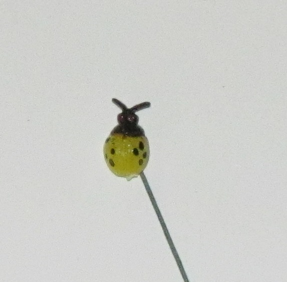 Yellow 1/2 inch Lady Bug - Plastic - on 2-3/4 inch wire stem - 72 pieces