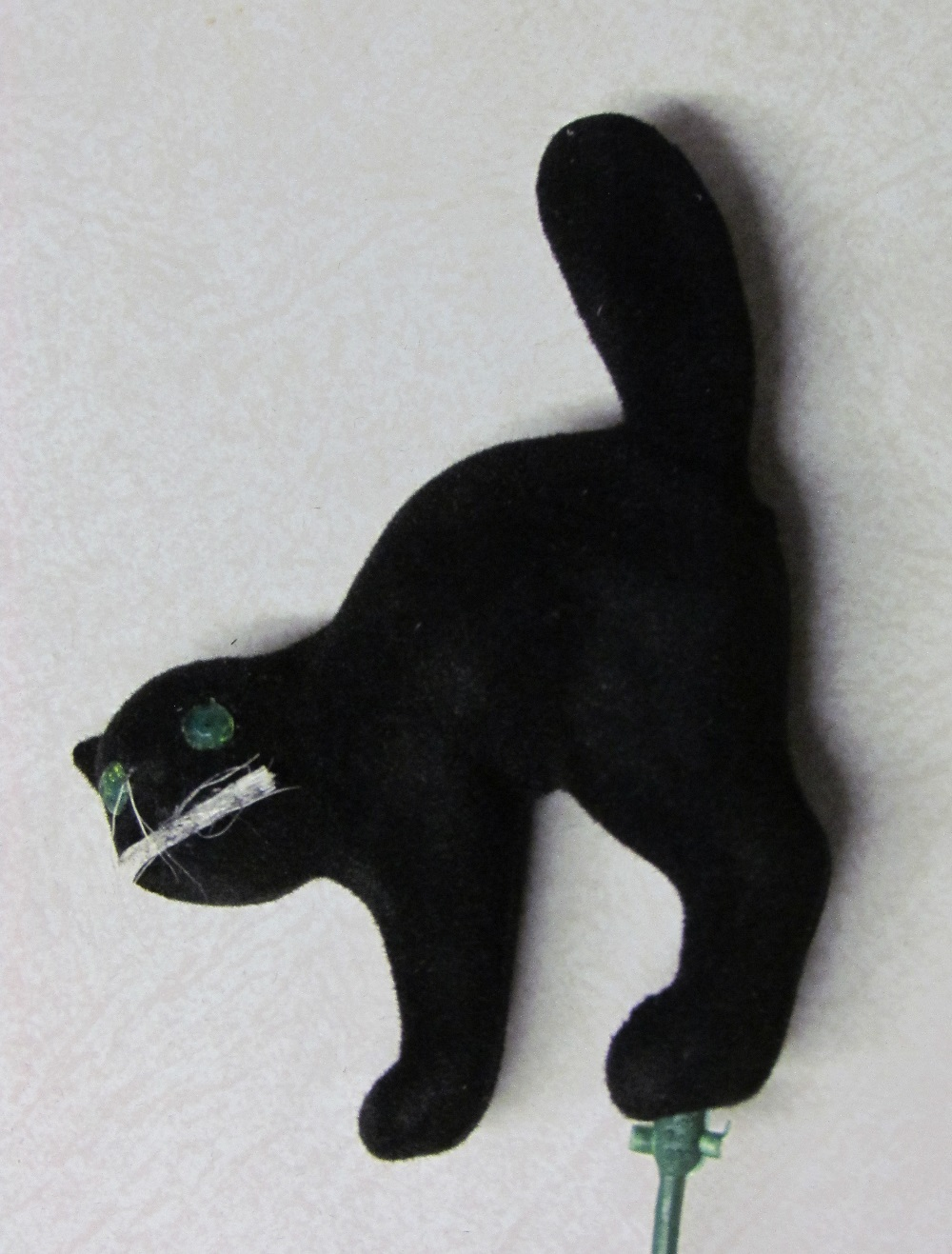 Flocked Black Cat - 3-1/2 inch with 10 inch wire pick - 1 piece