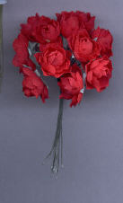 Red Fabric Rose Cluster