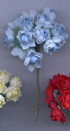 Blue Fabric Rose Cluster