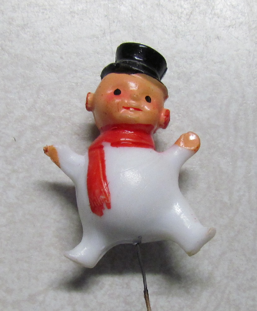 Snowman Pick - 1-1/2 inch - Plastic - on wire pick - 12 pieces.