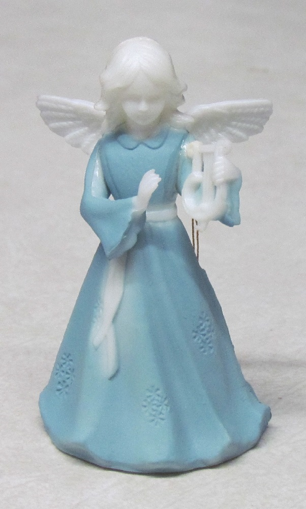 Wedge Wood Angel - Plastic - With Harp - 3-3/4 inch tall.