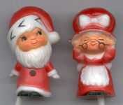 Mr & Mrs Santa Picks - Plastic - 2 inches - 2 pieces on 2 inch plastic picks.