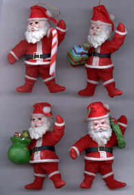 Flocked Santa - 4-1/4 inch - 4 assorted