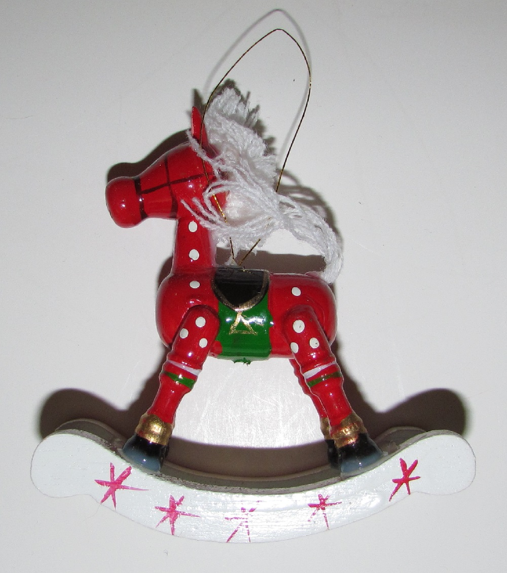 Wood Rocking Horse - Red - 3-3/4 inch tall - 1 piece.