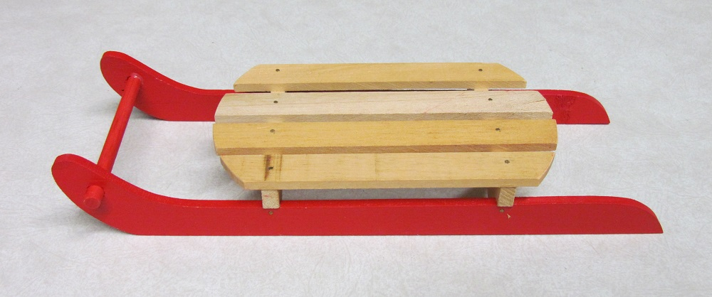 Red/Natural Wood Sled - 12x1.5x4 inch - 2 per pkg