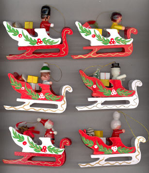 Wood Christmas Sleigh - 4 inch x 2 3/4 inch - 6 assorted