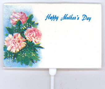 Happy Mother's Day Pick - 3-1/2 x 2-1/4 inch on 10 inch plastic pick - Plastic - 12 pieces