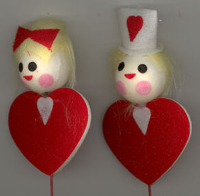3-1/2 inch Valentine Figures - on wire pick - 6 pieces.