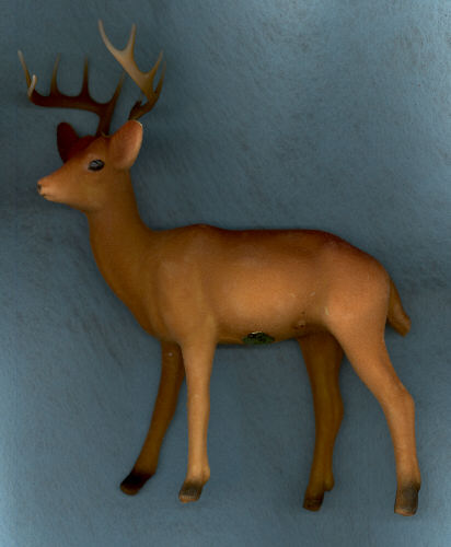 Brown Flocked Standing Buck Deer - 7 inch. 1 Piece