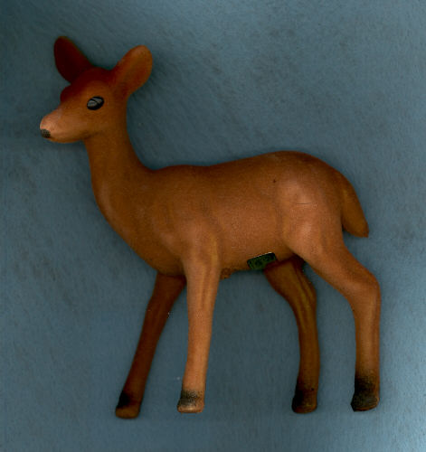 Brown Flocked Standing Doe Deer - 5-1/2 inch. 1 Piece