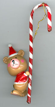Christmas Bear with Candy Cane - wood - 5 inch - with hanger - one piece