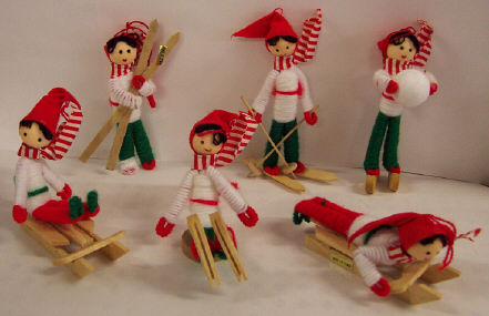 Yarn Figures - 1-1/2 to 4-1/2 inch tall - 6 pieces assorted.
