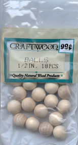 Wood Ball - Round - 1/2 inch - 18 pieces