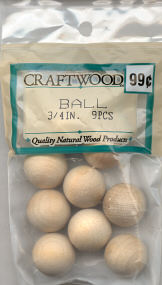 Wood Bead - Round - 3/4 inch - 9 pieces