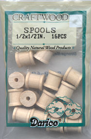Wood Spools - 1/2 x 1/2 inches - 16 pieces
