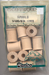 Wood Spools - 3/4 x 5/8 inches - 12 pieces