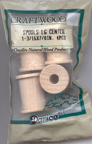 Wood Spools - 1-3/16 x 7/8 inches - 4 pieces