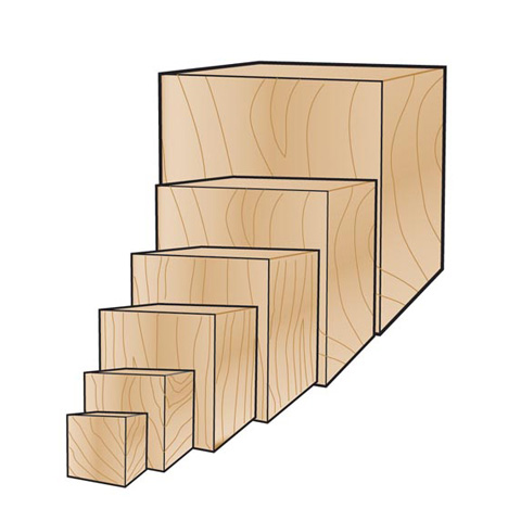 Wood Cube - 1 inch - 3 pieces