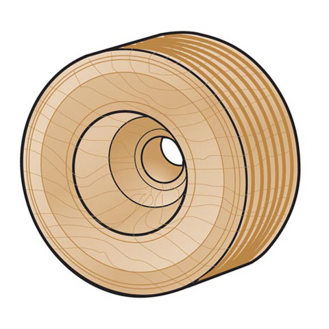 Wood Tread Wheel - 2 inches - 2 pieces