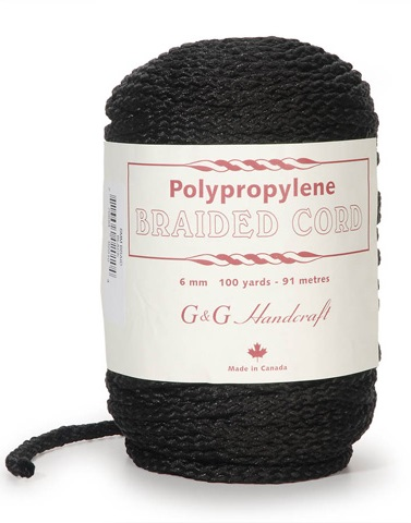 Braided Macrame Cord - Black - 6mm - 100 yards