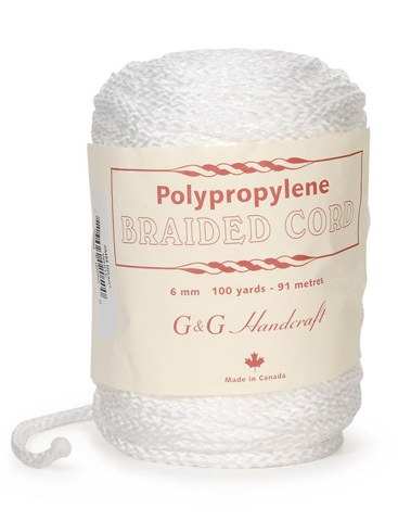 Braided Macrame Cord - White - 6mm - 100 yards