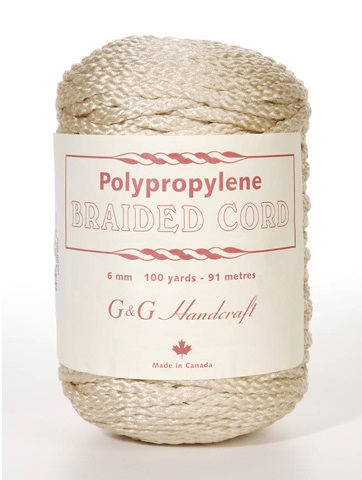 Braided Macrame Cord - Pebble - 6mm - 100 yards