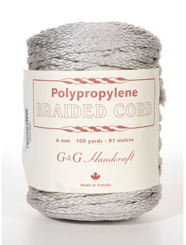 Braided Macrame Cord - Silver - 6mm - 100 yards