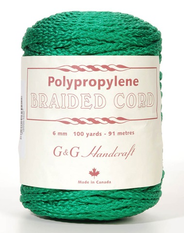 Braided Macrame Cord - Kelly Green - 6mm - 100 yards