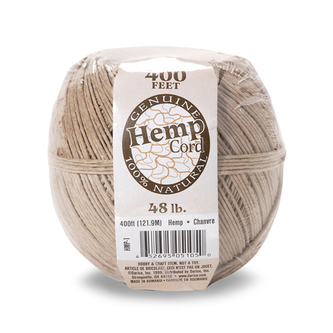 Natural Hemp Cord - 48lb weight - Brown - 400 feet