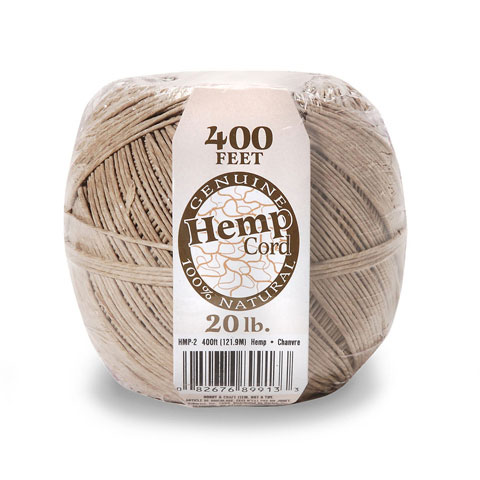 Natural Hemp Cord - 20lb weight - Brown - 400 feet