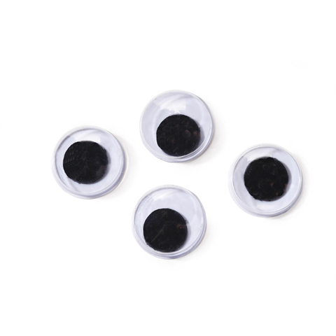 Paste On Eyes - Movable - Black - 7mm - 20 pieces