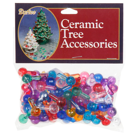Ceramic Tree Accessories - Medium Globe Pin - Multi Color - 1/2 in - 100 pack