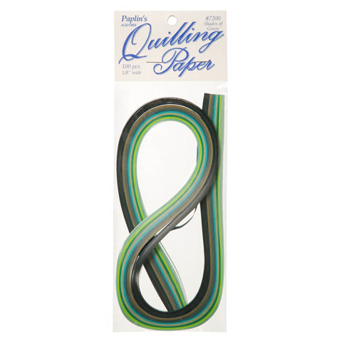 Paper Quilling Strips - Green Assorted - 1/8 inches - 100 pieces