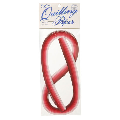 Paper Quilling Strips - Red & Pink Assorted - 1/8 inches - 100 pieces