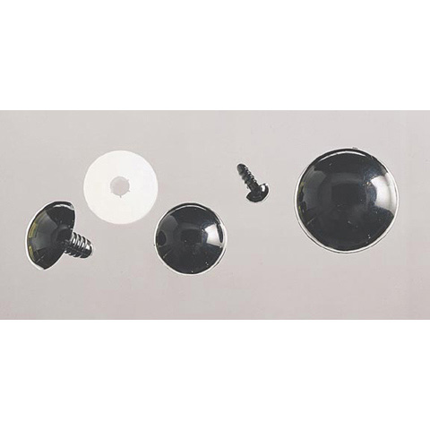 Solid Eyes - Black with Plastic Washers - 12mm - 50 pieces