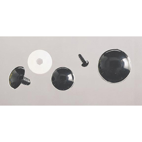 Solid Eyes - Black with Plastic Washers - 15mm - 50 pieces