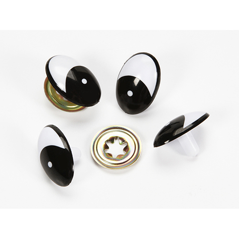 Comical Eyes with Metal Washers - Black - 30mm - 50 pieces