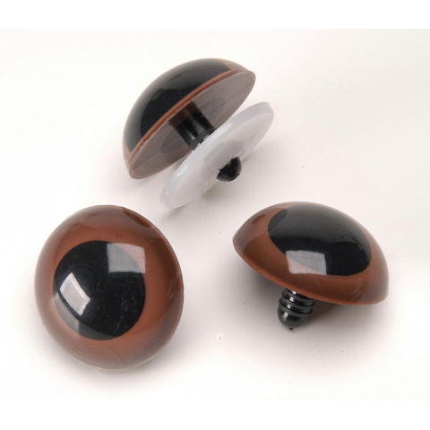 Animal Eyes with Plastic Washers - Brown - 15mm - 50 pieces