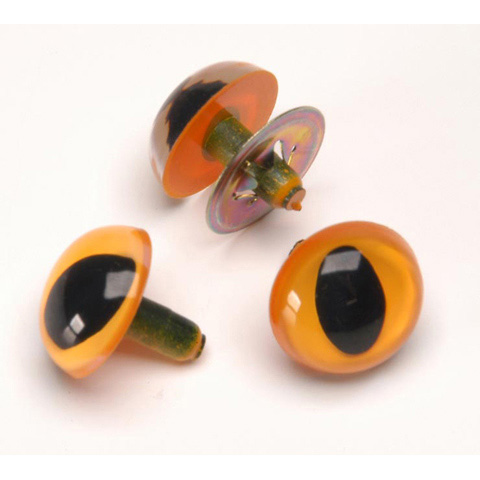 Cat Eyes with Metal Washers - Yellow - 9mm - 100 pieces