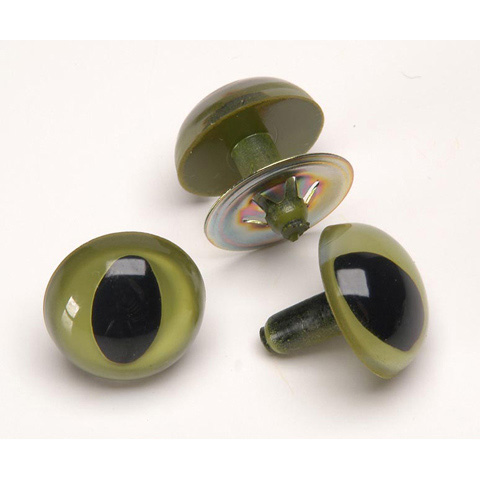 Cat Eyes with Metal Washers - Green - 9mm - 100 pieces