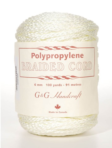 Braided Macrame Cord - Eggshell - 6mm - 100 yards