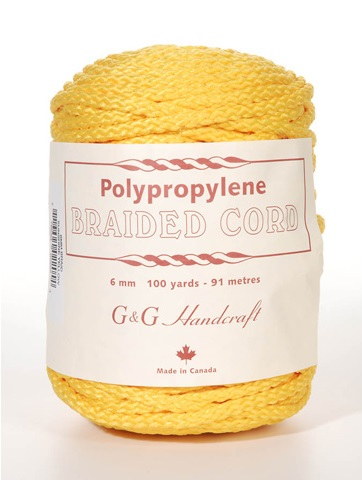 Braided Macrame Cord - Sunshine Yellow - 6mm - 100 yards