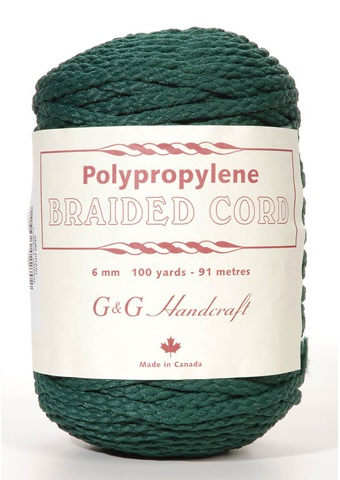 Braided Macrame Cord - Forest Green - 6mm - 100 yards