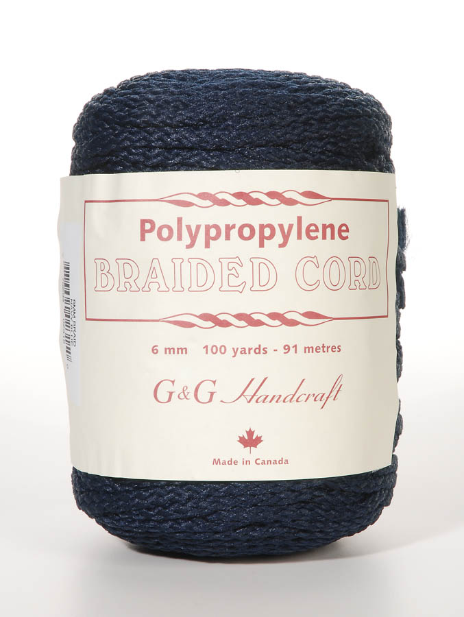 Braided Macrame Cord - Navy Blue - 6mm - 100 yards