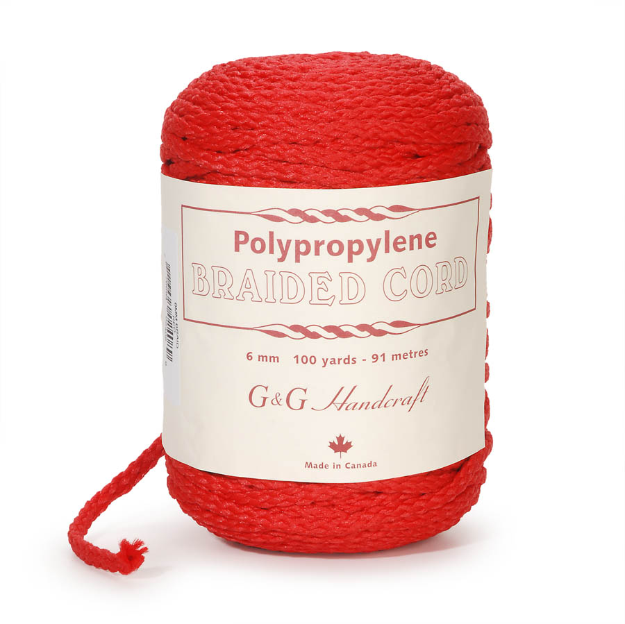 Braided Macrame Cord - Red - 6mm - 100 yards